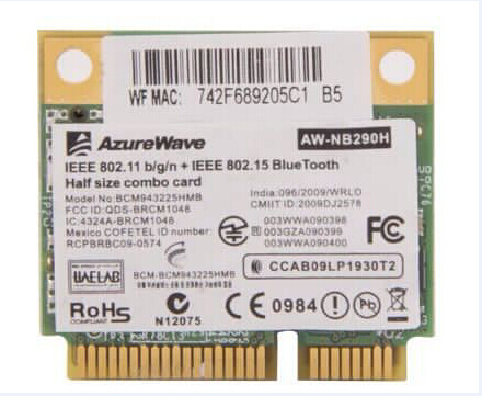 Broadcom BCM43225 802.11 b/g/n WLAN Wireless WIFI Card with Bluetooth 3.0 Half Height BCM943225HMB