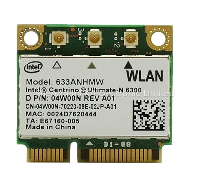 Intel 6300 Ultimate-N Wireless WiFi 802.11 a/g/n WLAN PCIe Half-Height Mini Card 633ANHMW 450M